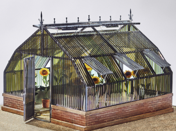 Agnès Varda, model of A CINAMA SHACK : The greenhouse of Happiness, 2017 Metal structure with Super 8 films of the movie Happiness (1964), and mixed medias 39,4 cm x 62,2 cm Unique edition