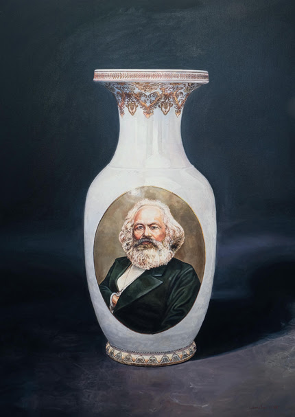 Vase with Karl Marx (USSR 1953) - red, 2016, oil on canvas, 95 x 75 cm, 37 3/8 x 29 1/2 in. Courtesy the artist and galerie Templon