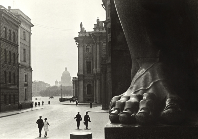 At the Hermitage, 1930 Gelatin silver print mounted  Title an date in pencil in Russian on verso Photographer's stamp and name in pencil on verso Courtesy Nailya Alexander Gallery