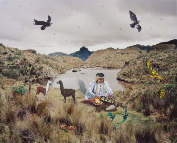 Medicine Man, 2017 archival pigment print with oil painting intervention by Tigua artist Courtesy the artist and Miyako Yoshinaga Gallery