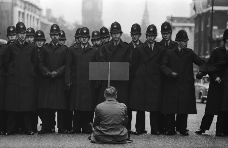 Protester, Cuban Missile Crisis, Whitehall, London , 1963, Don McCullin, Courtesy Hamiltons Gallery