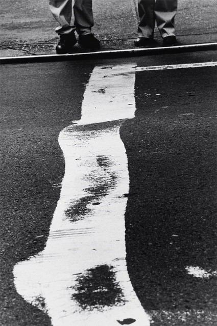 Louis Stettner, Crosswalk Stripe and Men, 1999 Gelatin silver print, printed 1999 40 x 37 cm Signed in pencil on verso