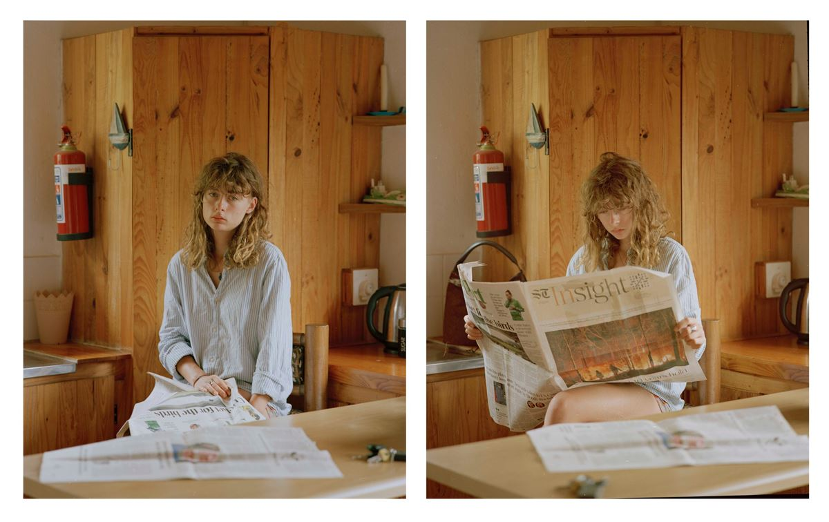 Garance reading the news diptych, 2019
