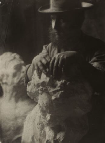 Antoine Bourdelle, Self-portrait with a hat with Beethoven, around 1908, gelatin-silver print. Photo credit: Bourdelle Museum / Paris Museums